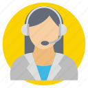 call center, customer service, hotline, technical support, women operator icon