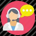 call center, customer service, female operator, hotline, technical support icon