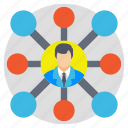 businessman, project head, projet connection, social links, team leader icon