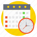 appointment, calendar with clock, event reminder, meeting date, plan organizer icon
