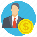 business mind, businessman, coin with man, entrepreneur, investor icon