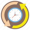 around the clock, time cycle, time management, time processing, time rotation icon