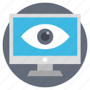 computer privacy concept, cyber inspection, monitor with eye, online monitoring, web monitoring icon