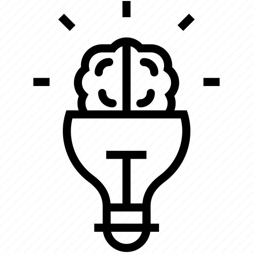 brain, bulb, creative mind, innovative mind, intelligence icon