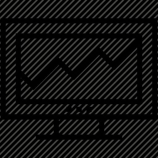 business graph, line graph, monitor, seo graph, statistics icon