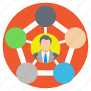 business circle, project connection, project head, social links, team leader icon