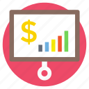 analytics, business growth, finance statistics, financial presentation, project analysis icon