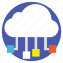 cloud infrastructure, cloud networking, cloud storage, data connection, data server icon