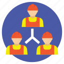 collaboration, project staff relation, teamwork, work group, workers management icon