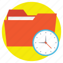 appointment, filing limit, folder with clock, office time, scheduling concept icon
