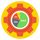 pie chart analysis, production analysis, production management, project analytics, statistics icon