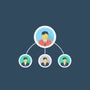 business organization, business plan, group of individuals, individuals forming, team management icon