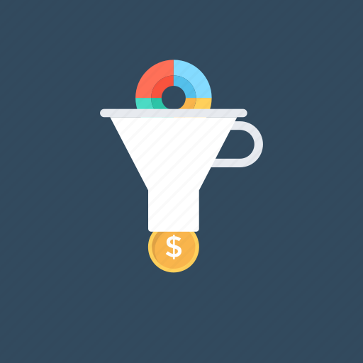 buying process, purchase funnel, revenue funnel, sales funnel, sales process icon