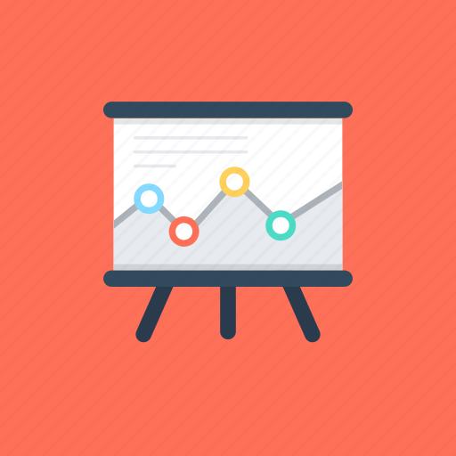analysis, business analytics, presentation, statistics, whiteboard graph icon