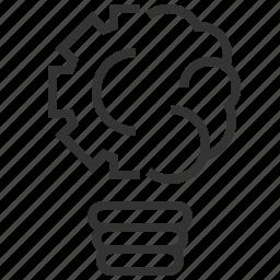 brain, creative, design, idea, innovation, lightbulb, product icon
