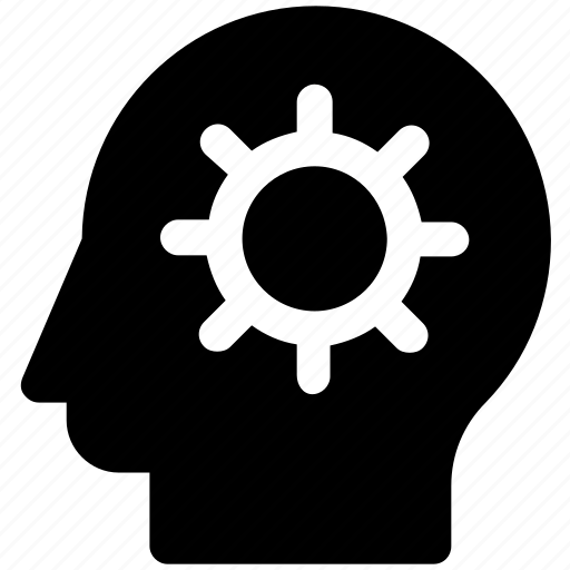 brain gear, brainstorming, gear, head, head gear, strategy icon