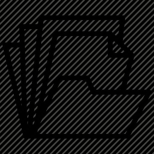 computer, data, document, folder, open icon