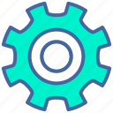 computer, gear, settings, tools, work icon