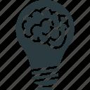 brain, bulb, creative mind, innovative mind icon