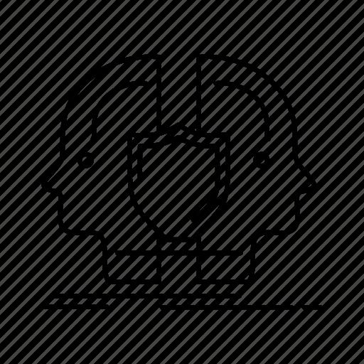 dual, face, identity, man, sheild icon