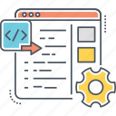 code, custom, custom code implementation, custom coding, implementation, programming icon