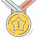 award, badge, champ, champion, first, medal icon
