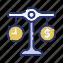 balance budget estimate, business, marketing, money, project, project management, time icon