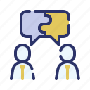 business, collaboration discussion, communication, marketing, project management, strategy, teamwork icon