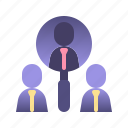 business, candidate, hiring, magnifier, marketing, people search, project management icon