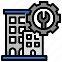 management, facility, office, block, real, estate icon