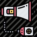 announcement, broadcast, communication, megaphone, speaker icon