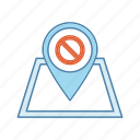 demonstration, location, map, meeting, pinpoint, protest, stop sign icon