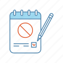 checkmark, document, paper sheet, petition, report, stop sign, vote icon