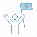 demonstration, meeting, person, protest flag, protester, stop sign, strike icon