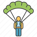 escape, inventory, parachutist, saving, skydiver, skydiving, soldier icon