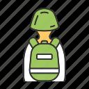 backpack, equipment, gear, helmet, inventory, rucksack, soldier icon