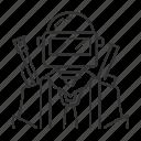 gun, weapon, protective, helmet, headgear, gear, military icon
