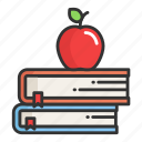 apple, book, education, library, place, school, study