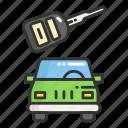 automobile, car, key, lock, place, vehicle icon