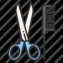 comb, barber, scissor, hairdresser, place icon