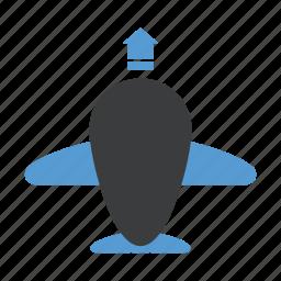 aeroplane, airport, departure, flight, takeoff icon