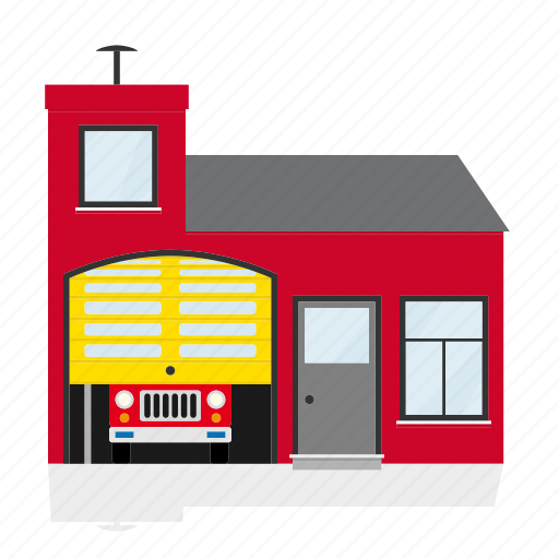 building, emergency, fire station, firehouse, help, house, public icon