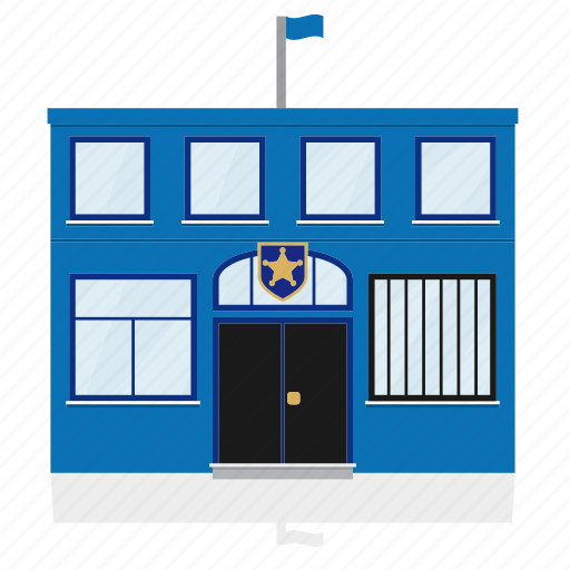 building, department, government, law, police, public, station icon