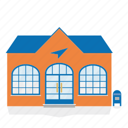 building, house, mail, post office, public, service icon