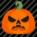 angry, creepy, emoji, halloween, horror, pumpkin, scary icon
