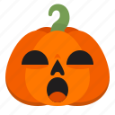 atonished, creepy, emoji, halloween, horror, pumpkin, scary icon