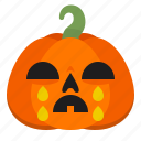 creepy, cry, emoji, halloween, horror, pumpkin, scary icon