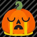 creepy, crying, emoji, halloween, horror, pumpkin, scary icon
