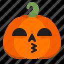 creepy, emoji, halloween, horror, kiss, pumpkin, scary icon