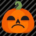 creepy, emoji, halloween, horror, pumpkin, sad, scary icon